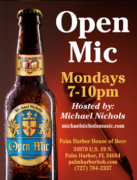 Palm Harbor House of Beer Open Mic Graphic and Link